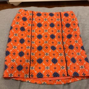 Orange and Blue Mosaic Fitted Skirt